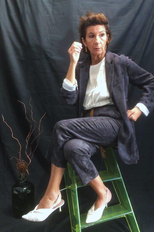 Pantaloni a caviglia in velluto a coste
